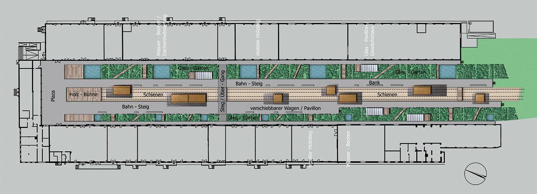Plan Gleishalle mit alten Waggons als Schiebeelemente in den Gleisbetten